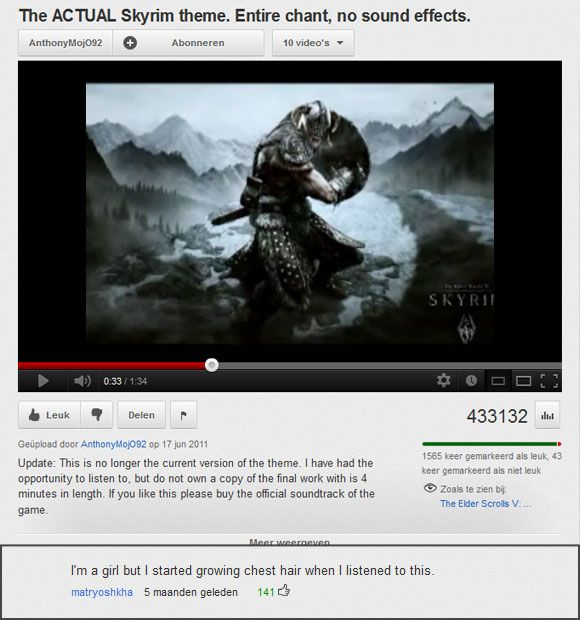Few songs are as manly as the theme from the video game Skyrim