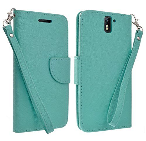 Oneplus One Case, Magnetic Flip Folio Pouch With 2 Credit Card Slots (Includes Handstrap) (TEAL)