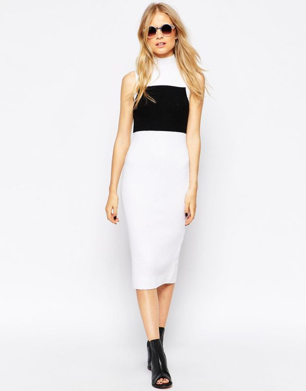 Λευκό ζιβάγκο φόρεμα με μαύρο block
