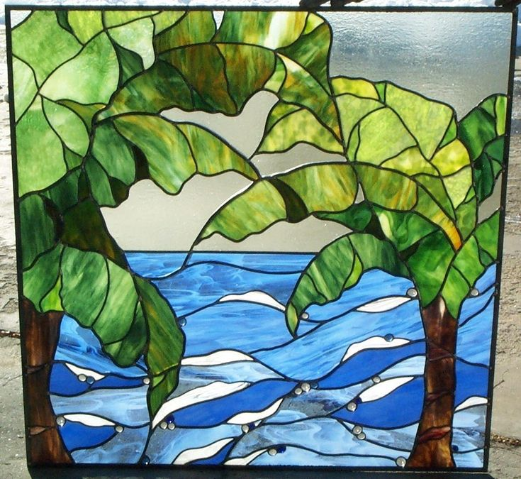 Custom Made Stained Glass Privacy Window for Bathroom Ocean view swaying palm trees