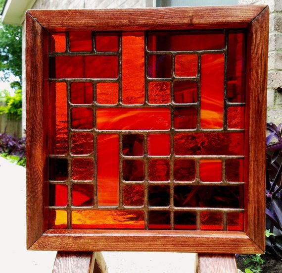 Stained Glass Panel Orange Geometric Abstract by JBsGlassHouse