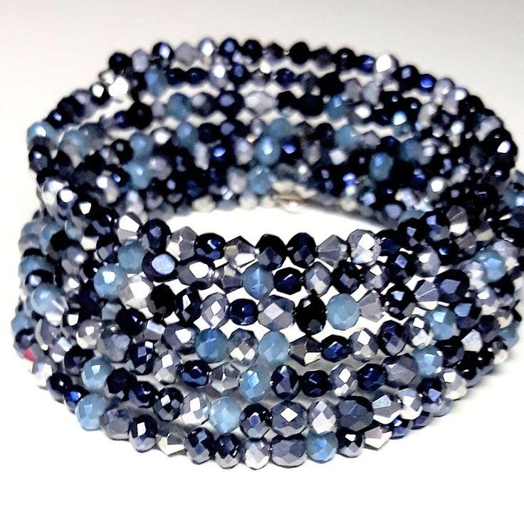 #kryształki #bicone #rondelle #firepolish #blue #silver #darkblue #bracelet