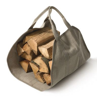 inspiration image... I can cut the sides out of a recycled shopping tote paint it - or not - and use as log carrier
