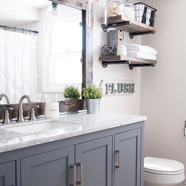 25 best ideas about modern farmhouse bathroom on for Modern chic bathroom designs