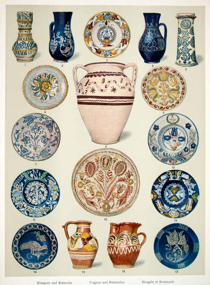 Antique Romanian housewares/pottery 1953