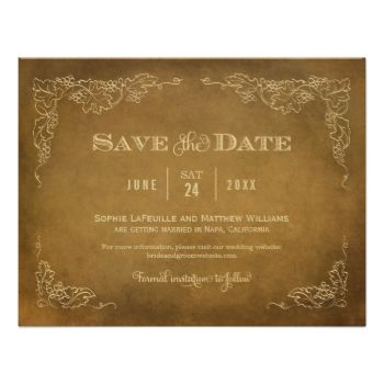 This formal wedding save the date announcement card with an aged vintage wine label style design. Rustic hand-drawn sketches of grapevine leaves frame the important details. A simple flourished monogram appears on the reverse side. Champagne gold and earth brown color scheme. #wedding #save #the #date #save #the #dates #vintage #wine #theme #vineyard #grapes #vines #label #grapevine #rustic #chic #stylish #style #antique #aged #custom #template #leather #brown #champagne #gold #earthy ...
