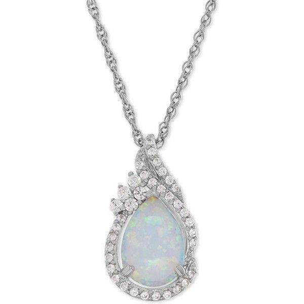 Lab-Created Opal (3/4 ct. t.w.) and White Sapphire (1/4 ct. t.w.)... ($74) ❤ liked on Polyvore featuring jewelry, sterling silver, sterling silver jewelry, pendant necklaces, opal jewellery, sterling silver jewellery and iridescent jewelry