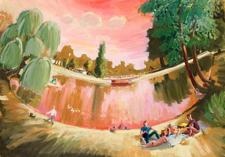 Peter Angermann (German, b. 1945), Stadtpark [City Park], 1987. Canvas, 105 x…