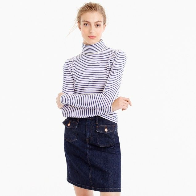 Tissue Turtleneck T-Shirt In Stripe | J.Crew