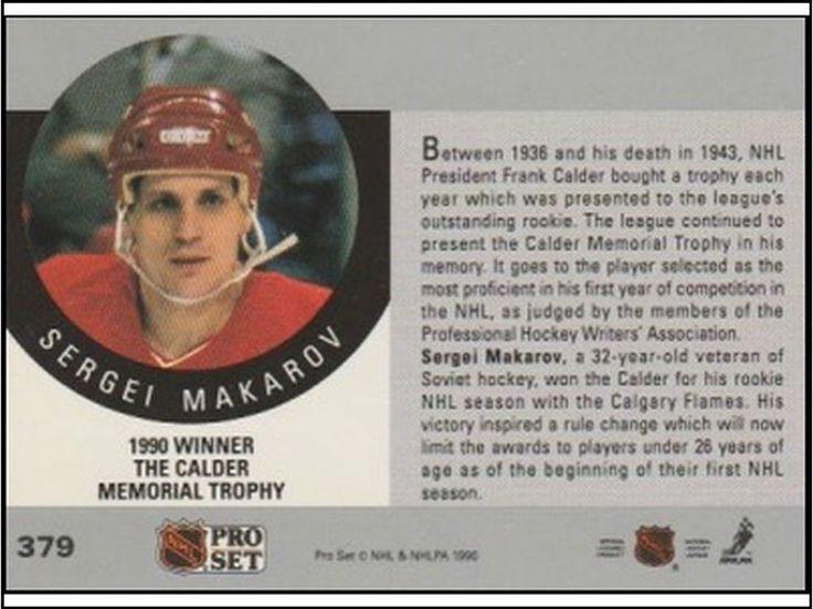 Sergei Makarov THE CALDER MEMORIAL TROPHY Flames Hockey NHL card 1990 PRO SET  #CalgaryFlames