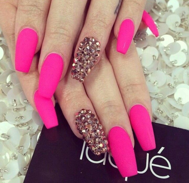 Laque Nail Bar | Matte Neon Pink Acrylic Nails w/ Rhinestones