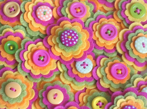 SUMMER FRUITS - Set of 3 Felt Flower Embellishments in Lime, Hot Pink, Yellow and Soft Orange