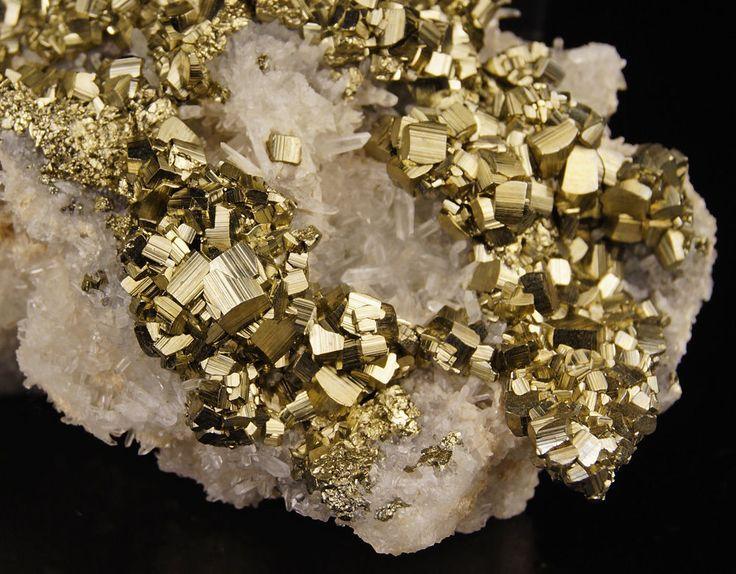 "3"" Golden Pyrite crystals on Quartz matrix from Huanzala Mine - Peru"
