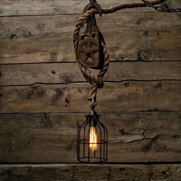 Rustic Light Industrial Chandelier Rope Pulley By: 83 Best Images About Edison, Wood & Rope On Pinterest
