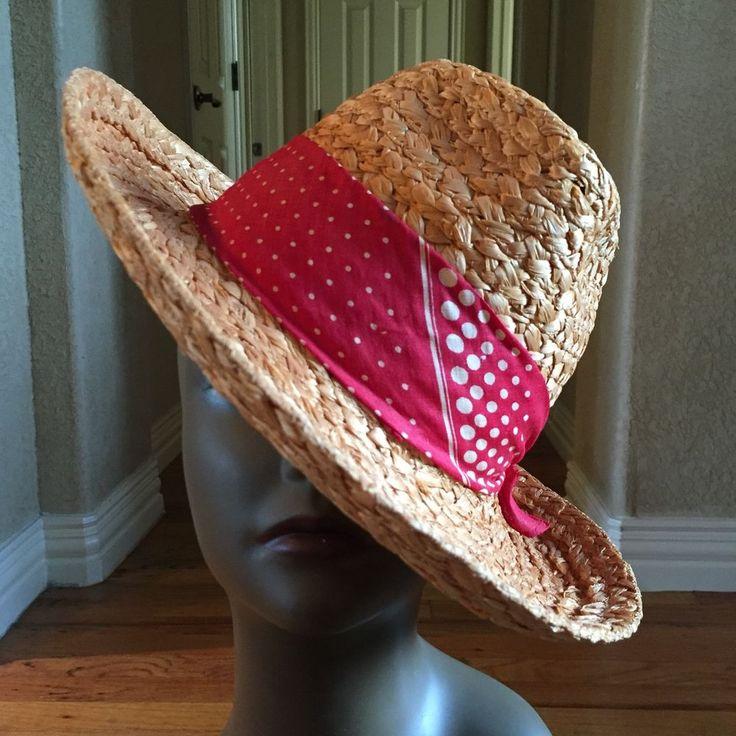 Vintage Mens Italian /Panama Style Straw Hat /Kerchief Band w Vtg Dobbs Hat Box! #Panama