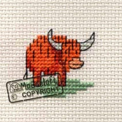 Mouseloft Mini Cross Stitch Kit - Little Highland Cow, Stitchlets Collection                                                                                                                                                                                 More