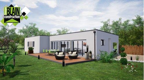 Très jolie maison à toit plat. Ligne épurée et moderne. Localisation : Treillières, Loire-Atlantique (44). Maison individuelle. Réalisation : Groupe Blain Construction