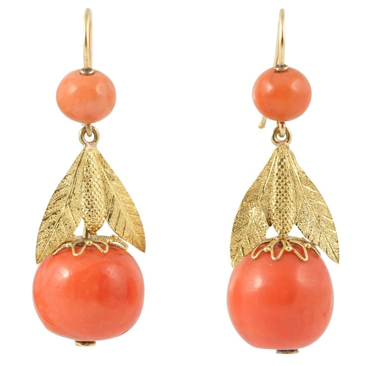 Regency Coral earrings | From a unique collection of vintage drop earrings at http://www.1stdibs.com/jewelry/earrings/drop-earrings/