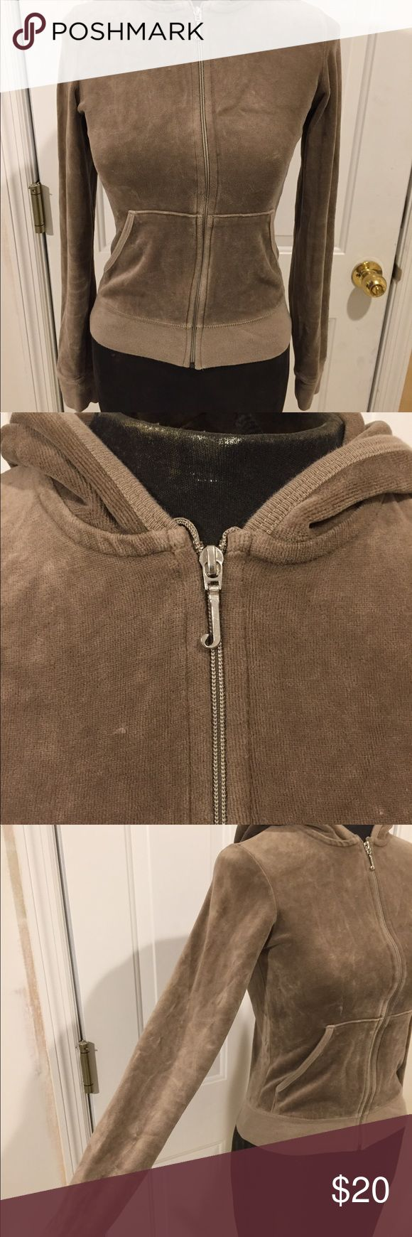 Juicy Couture Light Brown Zip-Up Hoodie Juicy Couture zip up velour hoodie, in good condition and comes from a smoke free, pet free home! Juicy Couture Sweaters