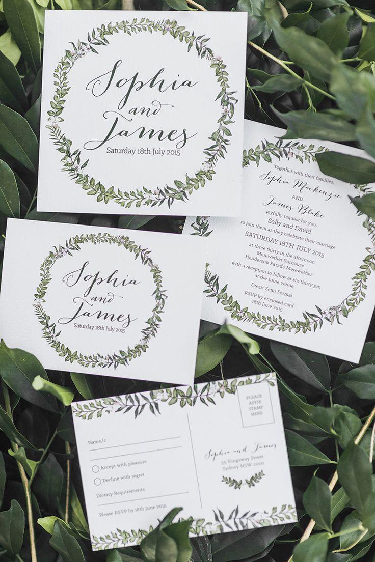 Elegant illustrated green and white wreath wedding invitation | Kaitlin Maree Photography | See more: http://theweddingplaybook.com/romantic-rustic-wedding-inspiration/