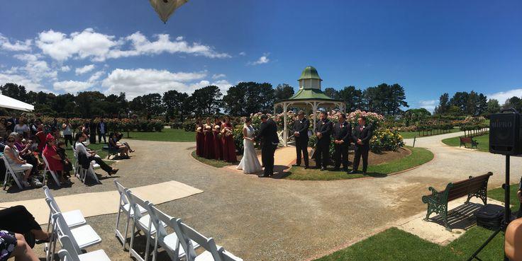 Werribee mansion. Rose garden. Bride. Groom. Bridesmaids. Groomsmen. Family. Friends.