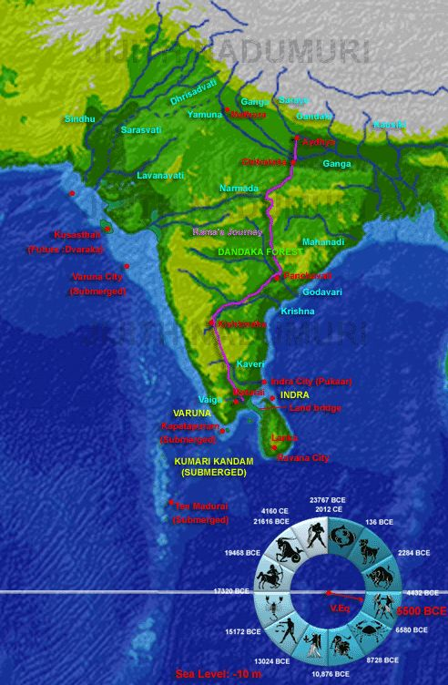 5,500 BCE:- Kumari Kandam is submerged except a few islands near Kanyakumari, identifiable with Mainaka and other islands and mountains described in Ramayana as lying between India and Lanka. Sea was around 5 km away from what is now Kanyakumari. So a small portion (2%) of what was Kumari Kandam existed to the south of Kanyakumari. Probably the city Manavoor (new cultural center for people of Kumari Kandam) lied in this land 5 or 4 km to the south of Kanyakumari. Kapatapuram is now submerged…