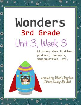 Wonders Reading3rd GradeUnit 3, Week 3This resource includes the following itemsUnit Focus Posters:Essential Unit QuestionsWeekly SkillsLiteracy Work Stations:Parts of SpeechSentence EditingFlash CardsWord ScrambleWord SortPrefixes/Suffixes Match-upWord Match: SynonymsWord/Definition Match-upComprehension/OrganizationGraphic Organizers (for each story)Response to Literature QuestionsThis resource has been created for use with the Wonders Reading Program by McGraw-Hill.