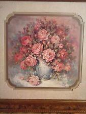 homco home interiors retired 185 picture roses blue vase julia crainer frame 6900 2200