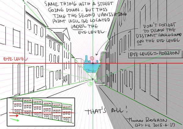 """ThomasRomain ロマン・トマさんはTwitterを使っています: """"斜面の描き方。難しいでしょう?本当はそれほどでもないですよ。できるだけ簡単に説明してみました。とりあえず英語で。 How to draw street slopes without losing your mind. http://t.co/LBUWvJ0NSN"""""""