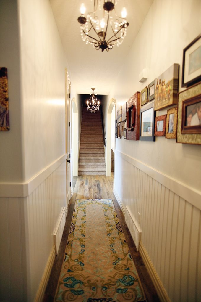 Love the use of various artwork in a long hallway. Private gallery.: Narrow Hallway, Crystal Chandeliers, Long Hallway, Small Chandeliers, Hallway Photo