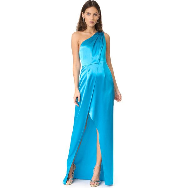 Zac Posen Stacy Gown (1 055 AUD) ❤ liked on Polyvore featuring dresses, gowns, river blue, zac posen gowns, draped gown, blue evening dresses, zac posen evening gowns and pleated gown