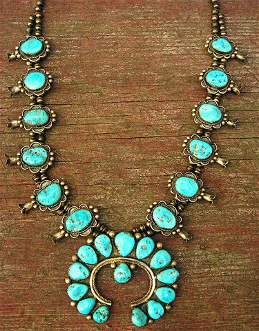 silver and turquosie squash blossom necklace