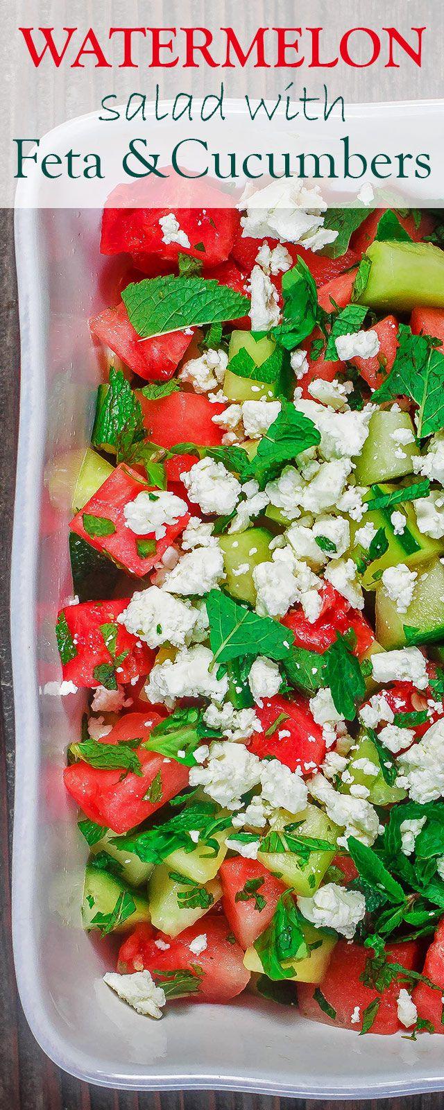 Mediterranean Watermelon Salad Recipe | The Mediterranean Dish. A light and fresh watermelon salad with cucumbers, feta cheese and fresh herbs. All dressed in a honey vinaigrette. @themeddish
