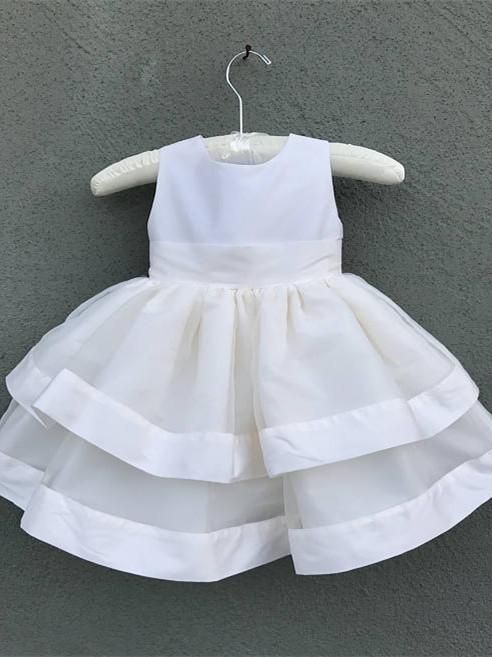 84037ae0e09 Cute Organza   Satin Jewel Neckline Short Length Ball Gown Flower Girl  Dresses FD043 in 2019