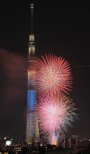東京の夏の風物詩「第35回隅田川花火大会」が28日夜、台東、墨田両区にまたがる隅田川で開かれた。約...