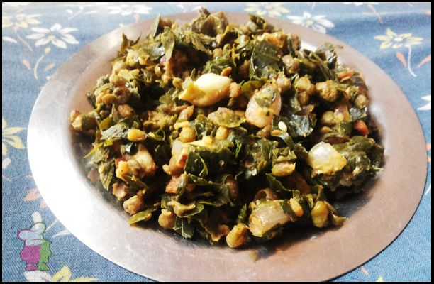 Drumstick Leaves Fry with Green Gram - Learn the unique combination of drumstick leaves and moong at http://ourvivaha.com/vivahakitchen/recipe/drumstick-leaves-fry-with-green-gram/