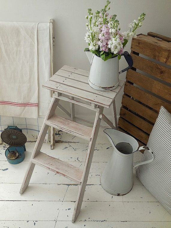 Vintage shabby painted small step ladder, kitchen steps, step ...