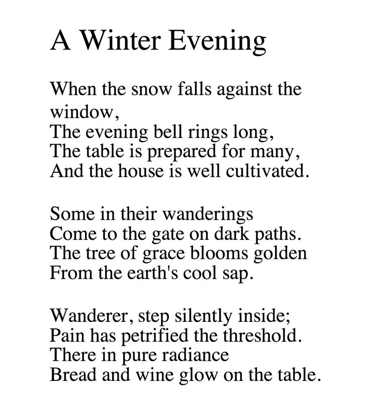 George Trakl's Winter Evening poem