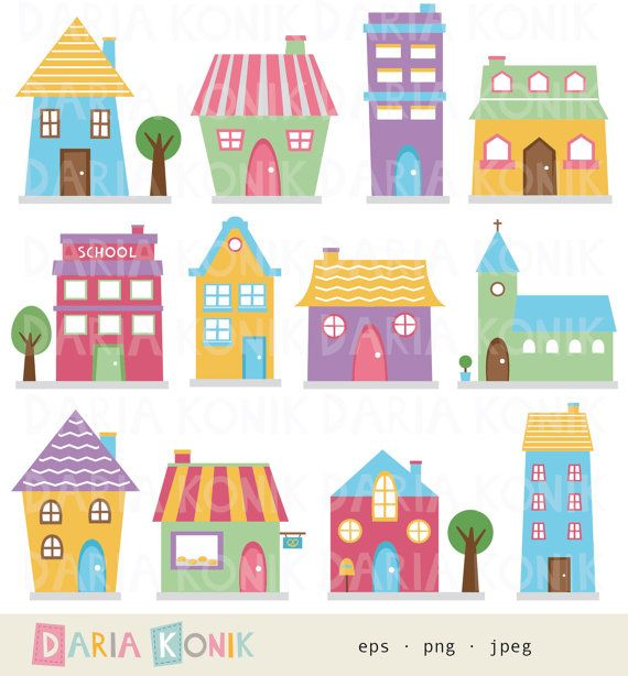 Hey, I found this really awesome Etsy listing at https://www.etsy.com/listing/173611109/houses-clip-art-set-cute-houses