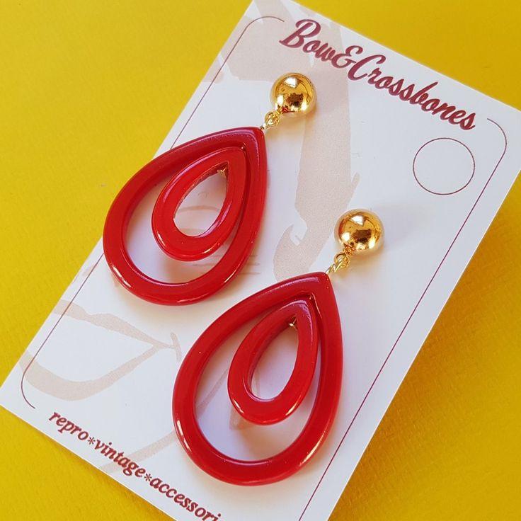 Olivia oval hoop earrings - Red
