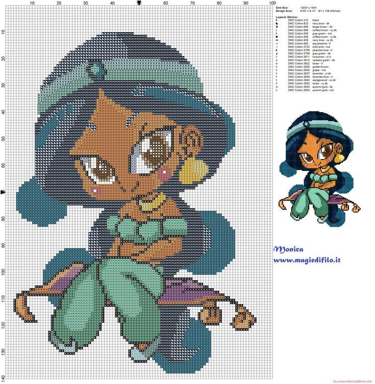 Chibi Jasmine patrón punto de cruz