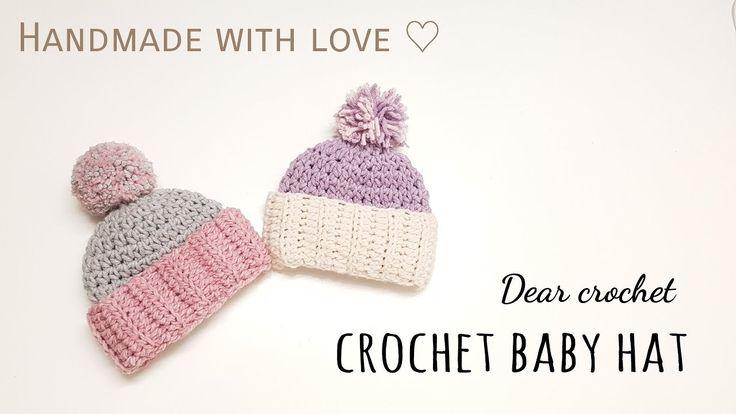 코바늘 아기 겨울 모자 뜨기 (crochet baby hat ) - YouTube