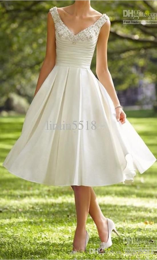 Tea Length 2014 A-line V-Neck Satin Crystal Beaded Knee length Short Party Wedding Dresses Short Bride Gown With Pocket 100% Real Picture