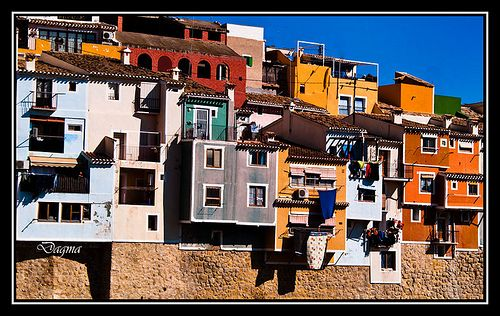Colorful houses in Alicante Spain...!
