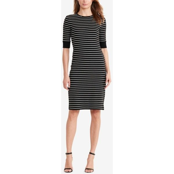 Lauren Ralph Lauren Petite Striped Dress (€55) ❤ liked on Polyvore featuring dresses, lace up front dress, nautical stripe dress, nautical dresses, lace up dress and lauren ralph lauren