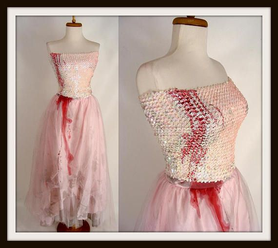$104.00 Zombie Prom Queen Dress. FAIRY VAMPIRE COSTUME. Zombie Princess. Pink Sequins Dress. Blood Trickle. Zombie Fairy Halloween Costume Size 2 xs