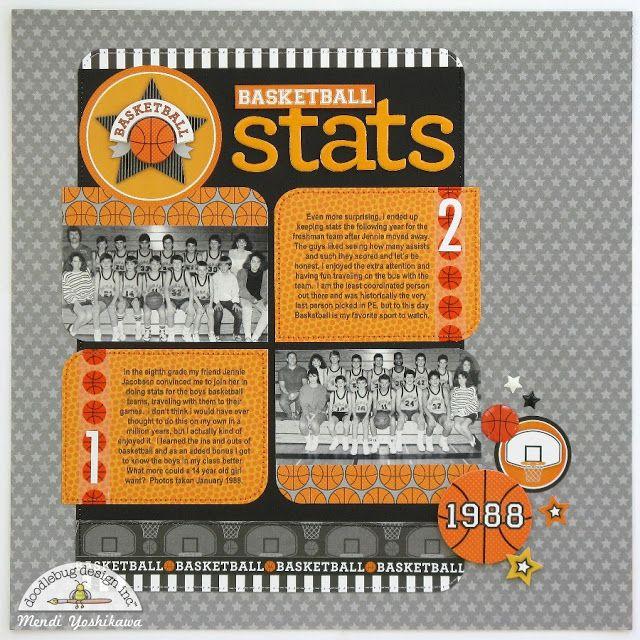 Doodlebug Design Inc Blog: Slam Dunk Collection: Basketball Stats Layout by Mendi