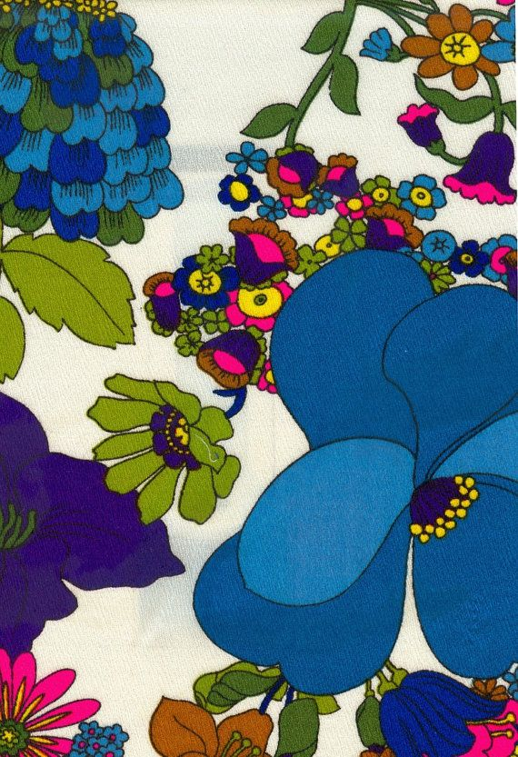 Vintage Floral Fabric  1 Yard by vickifab on Etsy,