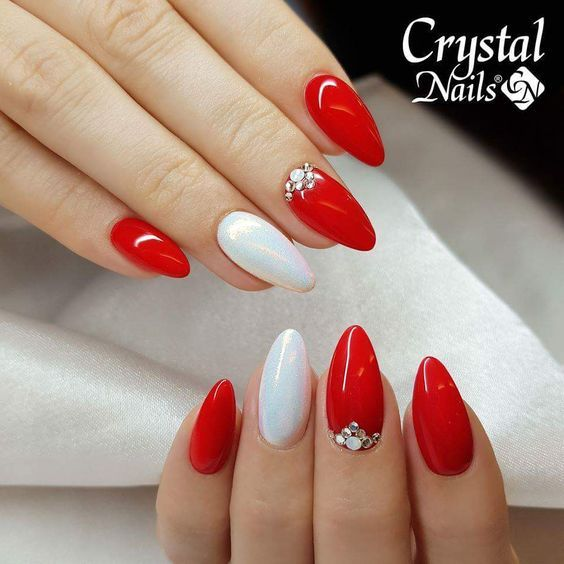 Crystal Manicured Nail Art Design In White And Redwood