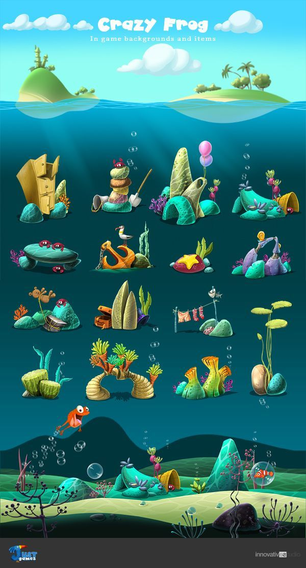Crazy Frog: In game backgrounds and items by Just Games, via Behance